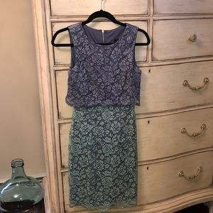 Aqua fitted lace dress size 4 excellent condition